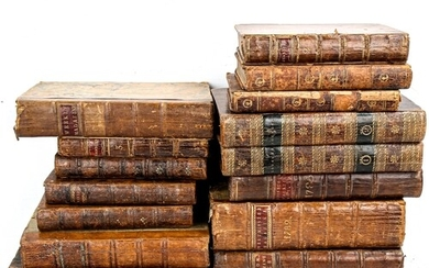 A group of leather-bound Antiquarian books, including 18th c...