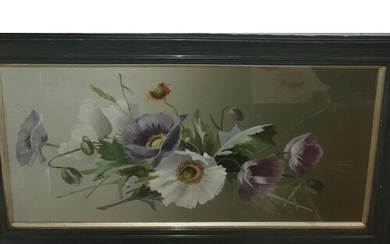 A lovely 20th Century Oil on Board Still Life of Poppies alo...