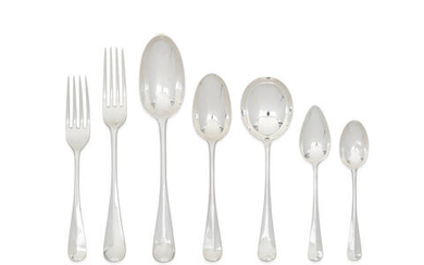 A matched silver Hanoverian pattern flatware service