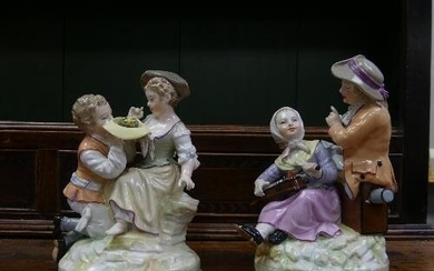 A pair of 19th Century KPM Berlin porcelain Groups, one depi...