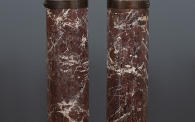 A pair of Scagliola marble style columna sculpture plinths or...