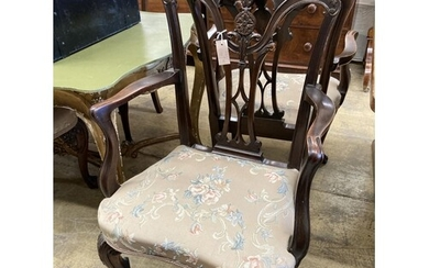 A set of six George III style mahogany dining chairs (two wi...