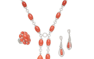 AN 18K WHITE GOLD, CORAL AND DIAMOND SUITE