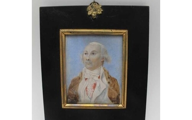 AN EARLY 19TH CENTURY MINIATURE PORTRAIT PAINTING, a Gentlem...