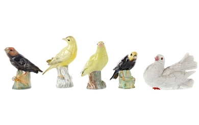 AN EARLY 20TH CENTURY MEISSEN FIGURE OF A CANARY, ALONG WITH FOUR OTHER BIRDS