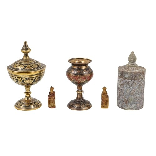AN INTERESTING COLLECTION OF ASIAN DECORATIVE ITEMS, includi...