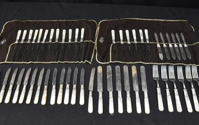 ASSORTED MOTHER OF PEARL MOUNTED FLATWARE