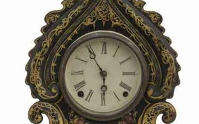 American Victorian iron front mantle clock