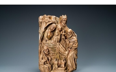An English alabaster relief of 'The adoration of the magi', ...