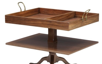 An English mahogany tray table with brass handles. Mid 20th century. H. 85 cm. W. 90 cm. D. 65 cm. – Bruun Rasmussen Auctioneers of Fine Art