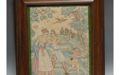 An early 18th century needlework picture, in canvas work wit...