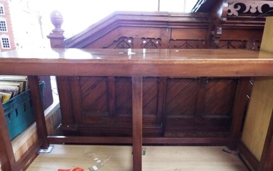 An oak military style brass bound hall table with brass cent...