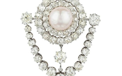 Antique Cultured Pearl and Diamond Brooch/Pendant