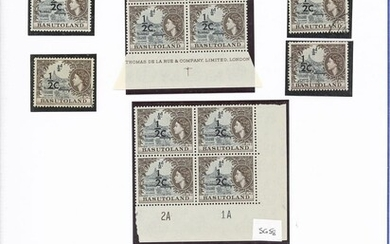 Basutoland 1961 Decimal Surcharge Issue A collection comprising ½c. on ½d. (177 with 2A and 2B...