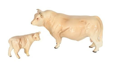 Beswick Cattle Comprising: Charolais Bull, model No. 2463A and Charolais...