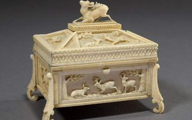 "Bone box with carved hunting motifs ""deer, hares and stags"",..."