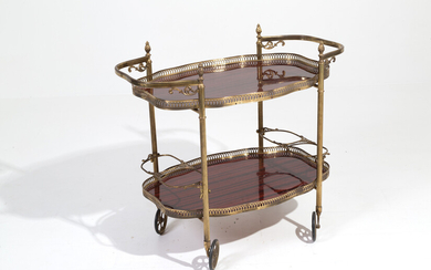 Brass and wooden cart. Early 20th century