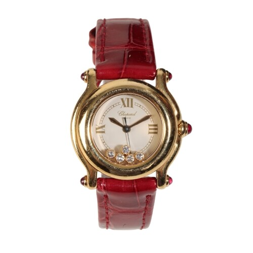 CHOPARD: AN 18CT GOLD HAPPY SPORT LADY'S WRISTWATCH with a q...