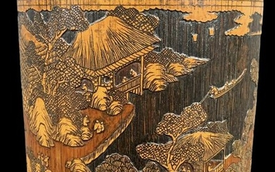 Chinese Bamboo Brushpot, Carved Landscape