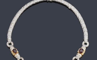 Choker with five oval cut rubies of approx. 13.00 ct in total and brilliant and baguette cut diamond