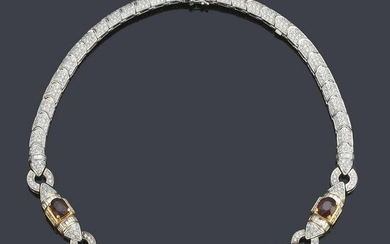 Choker with five oval cut rubies of approx. 13.00 ct in