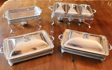 Covered Silver Plate Serving and Chafing Pieces