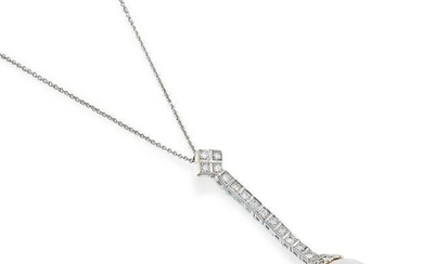 Cultured Pearl and Diamond Pendant Necklace