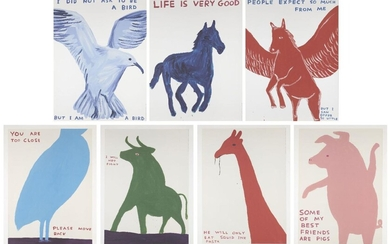 David Shrigley OBE, British b.1968- Life is very Good, People expect so much from me, I did not ask to be a bird, You are Too Close, I Will Not Fight, He only Eats Squid Ink Pasta, Some of My Best Friends Are Pigs; seven offset lithographs in...