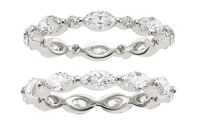 Diamond, White Gold Eternity Bands Stones: Marquise and full-cut...