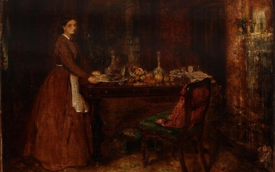 NOT SOLD. English school, 19th century: A woman standing by a table laid with food...