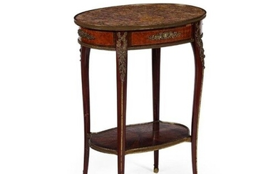 FRENCH LOUIS XVI STYLE AMARANTH AND KINGWOOD MARBLE TOP WORK...