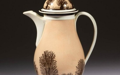 FRENCH PEARLWARE DIPPED WARE / MOCHA CERAMIC COFFEE POT