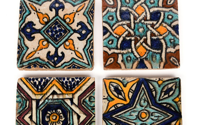 Four small Moroccan pottery tiles late 19th century