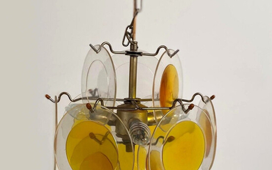 GINO VISTOSI. In the manner of. Suspension lamp from the 1960s with acrylic discs / plastic chandelier.