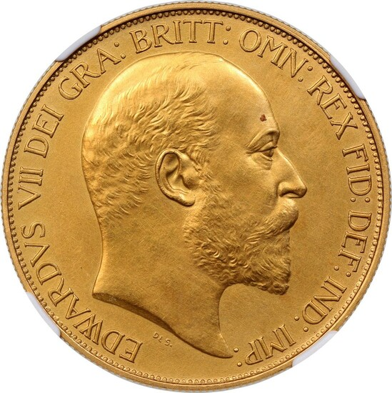 Great Britain, gold proof 5 sovereign, 1902