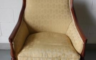 Louis XVI Style Damask Upholstered Berege Chair.