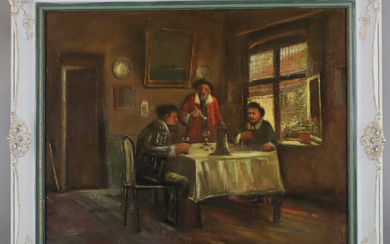 MEYER, CL. 20th century interior with drinking and smoking group of men in the style of d. 17th Century.