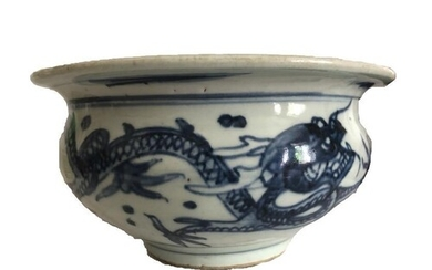 Ming Dynasty Blue & White Bowl Decorated With Dragons 17th C...