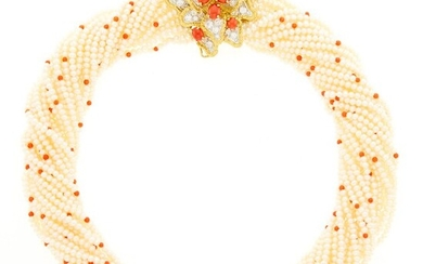 Multistrand Freshwater Pearl and Coral Bead Torsade Necklace with Two-Color Gold, Coral and Diamond Clasp/Pendant-Brooch, France