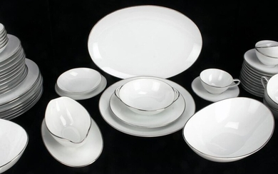NORITAKE COLONY WHITE WITH PLATINUM PORCELAIN SEERVICE