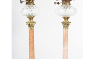 PAIR OF 19TH-CENTURY BRASS AND MARBLE OIL LAMPS