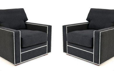 PAIR OF STUDDED CLUB CHAIRS