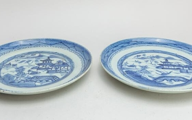 Pair Chinese Blue White Porcelain Plates