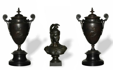Pair of Bronze Urns and a Bust