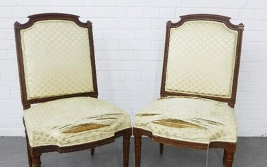 Pair of French walnut framed chairs with upholstered backs a...