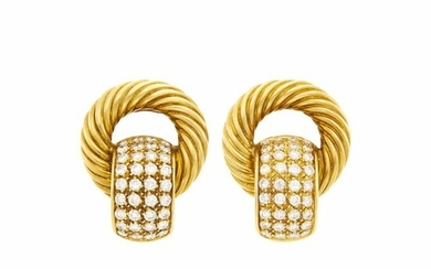 Pair of Gold and Diamond Earclips