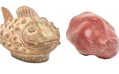 Pair of Mexican Folk Art Pottery, Pepper and Fish