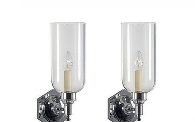 Pair of Nickel & Glass Sconces by Charles Edwards
