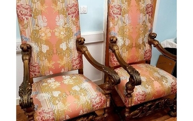 Pair of large Continental Walnut Armchairs in 17th Century S...