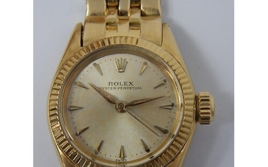 ROLEX: Ladies 18ct Gold Oyster Perpetual Wristwatch: Working...